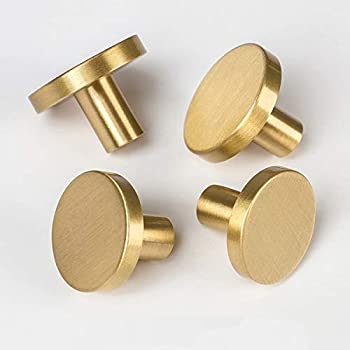 Rzdeal Cabinet Knobs Solid Brass Round Dresser Drawer Knobs And Pulls Simple Decorative Kitchen Cabinet Door Handles 4pcs 1 3 X0 79 Buy Online At Best Price In Uae Amazon Ae