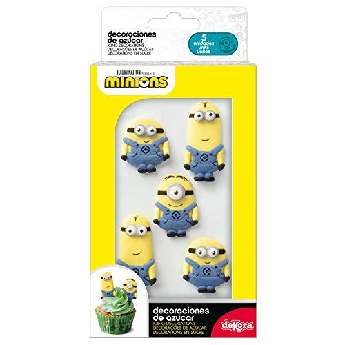 dekora Cupcakes o Tartas con Decoración de Azucar para Postres de Minions-Pack de 6 Figuras Comestibles, Multicolor, Talla Única, 6