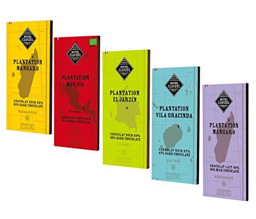 Michel Cluizel Surtido de barras de chocolate negro y con leche de Plantations of the World Manteca de cacao pura Vainilla Bourbon Sin soja Sin sabor - 5 x 70 Gramos