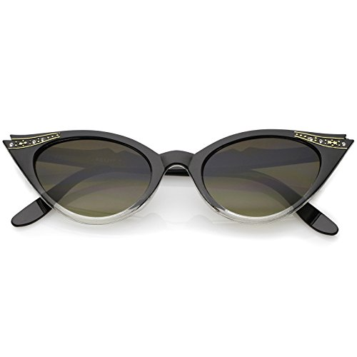 zeroUV - 50s Vintage Cat Eye Sunglasses for Womens with Rhinestones Pinup Girl Clothing Rockabilly Accessories (Black-F)