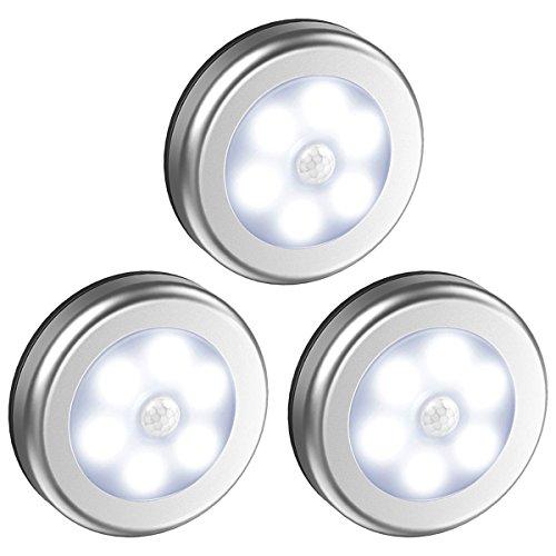 Oria Bewegungsmelder Nachtlicht, LED Batterie Bewegungsmelder Auto Nachtlicht, Schrankleuchten Licht, Treppe Nachtlicht, Wandschrank Licht, Indoor Nachtlicht für Kabinett, Treppen, Küche, etc–3 Stück