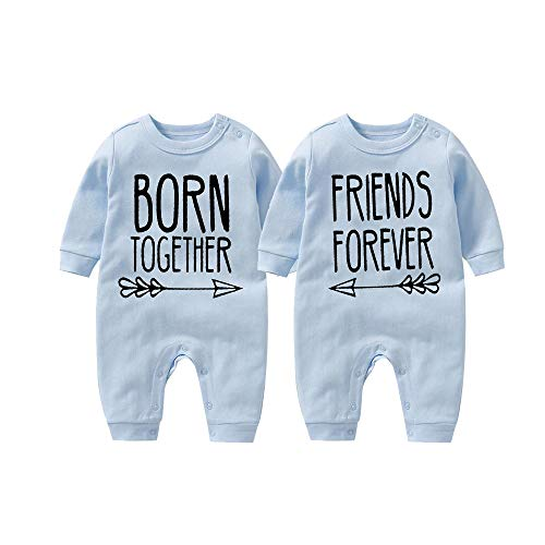 "culbutomind, Tutina per bebè, con scritta ""Born together, friends forever"" Blu 10- 12 mesi"