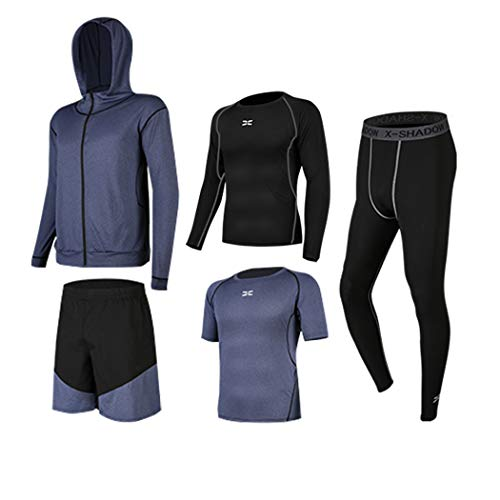 BUYJYA 5Pcs Men's Workout Set with Compression Pants, Long Sleeve Shirts,Loose Fitting Shorts, Jacket and Short Sleeve(Space Blue, XL)