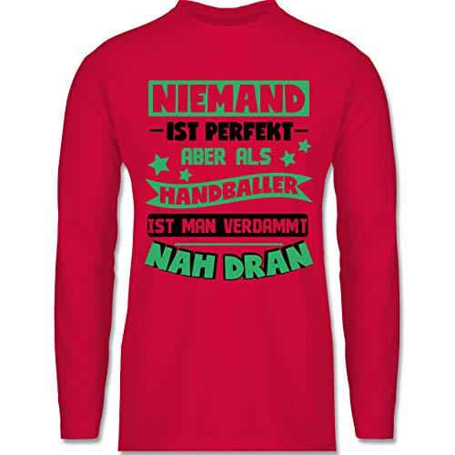 Shirtracer Handball - Niemand ist perfekt - Handball grün/schwarz - XXL - Rot - Rundhals - BCTU005 - Herren Langarmshirt