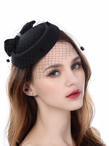Zivyes Fascinator Hats for Women Pillbox Hat with Veil Headband and a Forked Clip Tea Party Headwear (A10-Black)