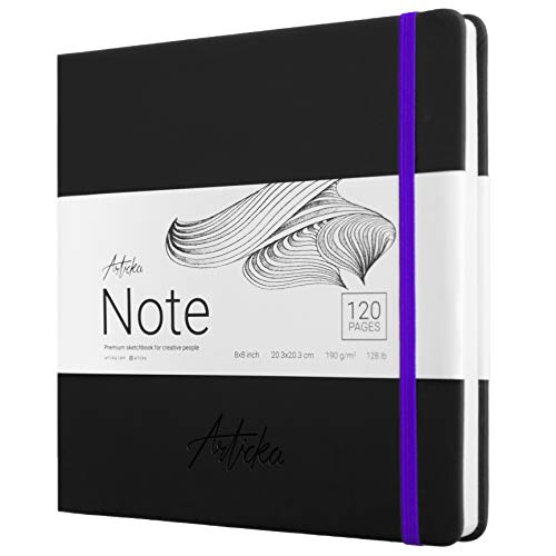 Articka Note Hardcover Sketchbook – Square Hardbound Sketch Journal – 8 x 8 Inch Art Book – 120 Pages with Elastic Closure – 180GSM High Quality Paper – Ideal for Pencils, Graphite, Charcoal, Pen