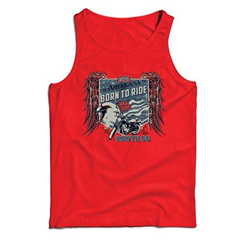 lepni.me Camisetas de Tirantes para Hombre Ruta histórica 66 - águila de la Bandera Americana, Camisa clásica de la Motocicleta (Small Rojo Multicolor)