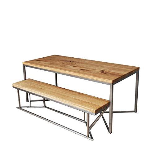 CosyWood Table de salle à manger en chêne massif et acier inoxydable fabriquée à la main en bois naturel de style rustique moderne industriel pour cuisine et salle à manger (150 x 75 x 75 cm)