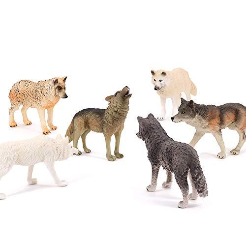 Wolf Spielzeug Figuren 6pcs, Tierspielzeug Wolf Figuren Zoo Pack, 2 Jahre Alt + Kinder Vorschule Naturwissenschaften Bildung Geschenk