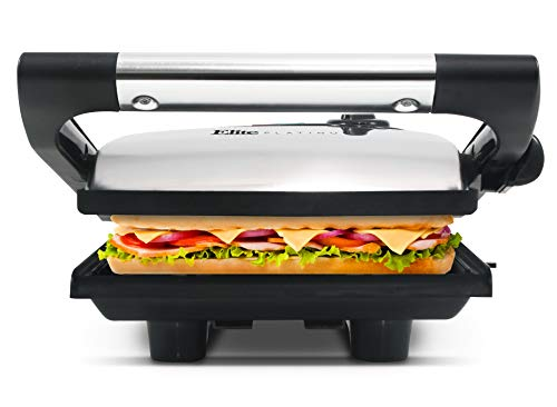 """Elite Platinum by Maxi-Matic Electric Panini Press & Contact, Gourmet Sandwich Maker, Indoor Grill with Floating Hinge, Removable Grease Tray, 1400W, 9.5"""" x 8.4"""", Stainless Steel"""