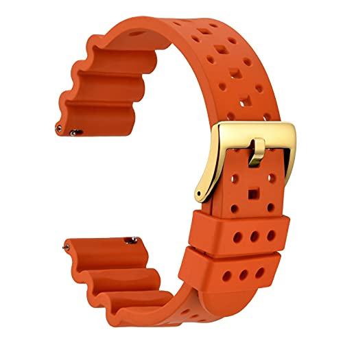 WOCCI 18mm Ventilado Correa de Reloj para Hombres, Silicona de Caucho Fluorado, Hebilla Dorada Pulida (Naranja)