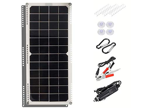 XDDXIAO 30W 12V Monocrystalline Solar Panel, Portable Solar Panel Charger Kit with 10A/20A/30A Controller and USB Output, for Car/Yacht/Battery/Boat,Standard