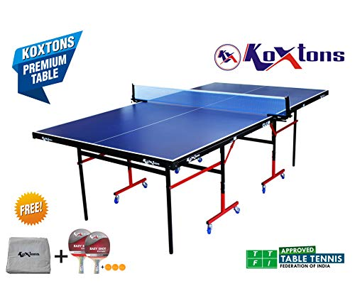 Koxton Table Tennis Table-Club (Free Tt Table Cover + 2 Tt Bats & 3 Balls)