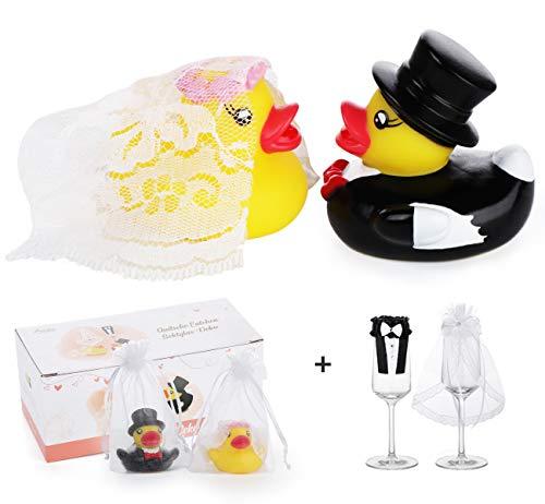 Adorfine Ente Hochzeitspaar Quietsche Entchen Hochzeitsenten mit Glas Hochzeit Sektglas Deko-Kleidung für Hochzeitsgeschenk Partydekoration(2 Paar)