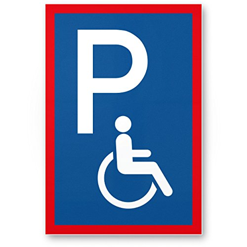 Parkplatz Behinderte, Behindertenparkplatz Kunststoff Schild (blau, 20 x 30cm), Hinweisschild Behindertenparkplatz, Parkplatzschild Reserviert - Rollstuhlfahrer, Parkplatz freihalten Körperbehinderte