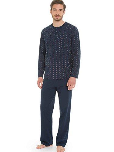 Seidensticker Herren Anzug Lang Zweiteiliger Schlafanzug, Blau (dunkelblau 803), Large (Herstellergröße: 052)