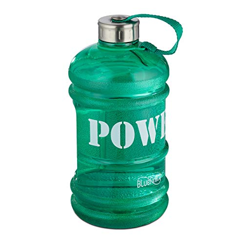 Bluefinity Botella de Agua Power para Deporte, Cantimplora XXL para Gimnasio, Libre de BPA y DEHP, 2 litros, Verde
