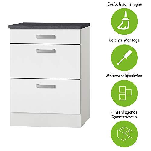 MMR Auszug-Unterschrank Küche DALLAS, Schubladenschrank, 1 Schublade, 2 Auszüge, 60 cm breit, Weiß