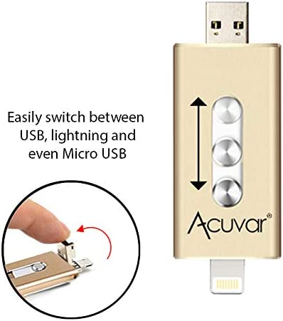iPad and Most USB Enabled Devices for Data Transfer and Backup Acuvar 64GB Mobile USB Flash Drive for iPhone Black