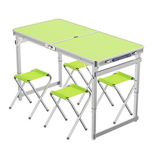 Table de camping pliable avec 4 tabourets pliants Chaise de camping Portable à hauteur réglable en aluminium, 4 pieds, table de camp de pique-nique intérieur et extérieur avec trou ( Couleur : Green )