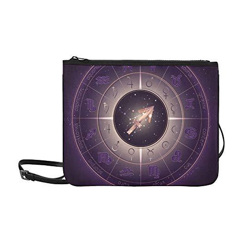 WYYWCY Sternbild Sternzeichen Schütze Muster Benutzerdefinierte hochwertige Nylon Slim Clutch Crossbody Tasche Umhängetasche