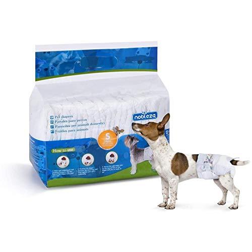 Nobleza Hund Windeln Einweg Weiblich Welpen Training Windeln Super Absorbent Pet Wraps 12 Pack 22-40 cm, Größe S, Geeignet für Hündinnen von 2-3 kg