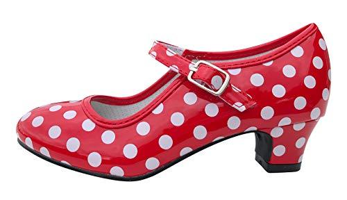 La Senorita Spanische Flamenco Schuhe - Rot Weiß - Größe 35 - Innenmaß 21,5 cm