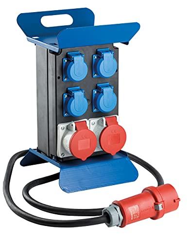 as – Schwabe Tragbarer CEE-Stromverteiler STECKY 1 – CEE-Stecker + 4 Schuko-Dosen + 2 CEE-Buchsen – Mobiler Stromverteilerkasten – Verteilerdose für den Außenbereich – IP44 – Made in EU I 60504