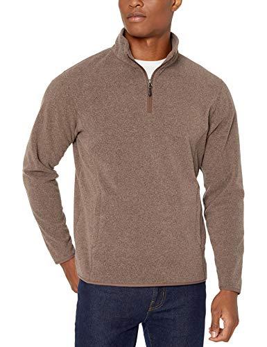 Amazon Essentials Men's Quarter-Zip Polar Fleece Jacket, Dark Brown Heather, Large