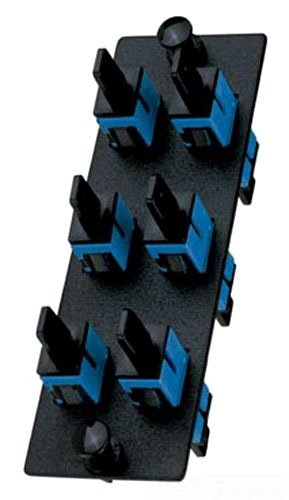 Panduit FAP6WBUSCZ Single-Mode 6-Port Fiber Adapter Panel with Zirconia Ceramic Split Sleeve, Blue
