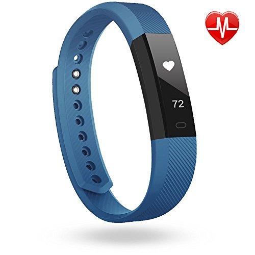 LINTELEK ® Pulsera Inteligente, Fitness Track con monitor de Ritmo Cardíaco, Podómetro, Sueño, Contador de Calorías, para iOS 7.1, Android...