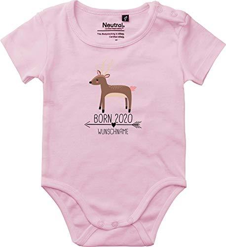 Baby Body Vintage Kleckerliese Sprüche jóvenes niñas Kurzarm con motivo Born 2020 Tiermotiv flecha nombre animales REH Wunschname rosa claro 92 cm