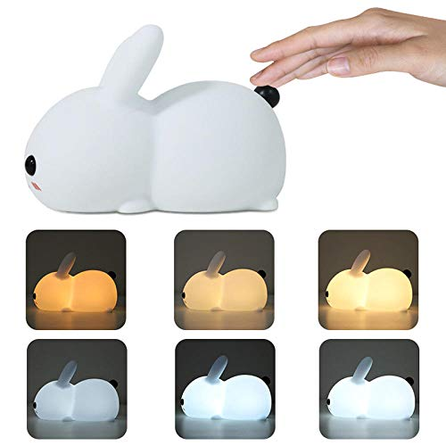 Colorful Silicone Night Light Creative Cute Rabbit Shape Sleep LED Night Light Bedroom Decor Atmosphere Lamp Ночник-changeable