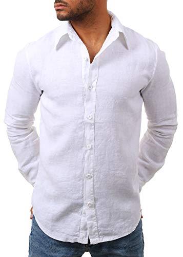Young & Rich Herren Leinenhemd Langarm körperbetont Slim fit leicht tailliert 100% Leinen T3152-H1650, Grösse:XL, Farbe:Weiß