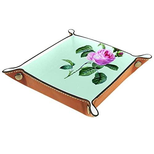 Capturador de cuero, monedero, bandeja de artículos personales, valet de almacenamiento, broches de metal de latón, artículos esenciales para el hogar y el viaje rosas rosas