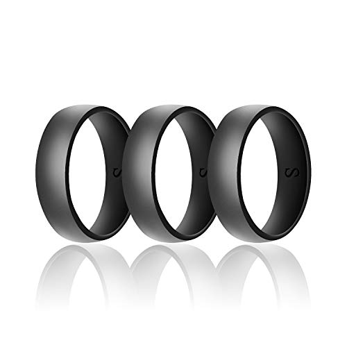 SANXIULY Mens Silicone Wedding Ring&Durable Rubber Wedding Bands Safe and Weight Lifting for Workout and Active Athletes Width 8mm Pack of 3 Color Black Size 12