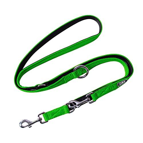 DDOXX Hundeleine Air Mesh, 3fach verstellbar, 2m | für kleine & große Hunde | Doppel-Leine Zwei Hund Katze Welpe | Schlepp-Leine groß | Führ-Leine klein | Lauf-Leine Welpen-Leine | Grün, M