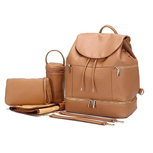 Wickeltasche aus PU-Leder für Mütter, Umstandstasche, Rucksack, Wickeltasche, Reisetasche mit Wickelunterlage für die Babypflege
