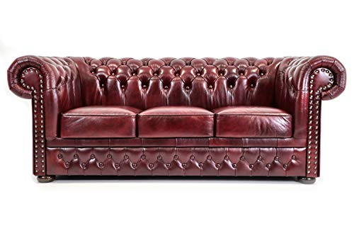 Unique Home Luxury Furniture 3 Seater Chesterfield Sofa - Italian Leather, Hand made in EU (Red)