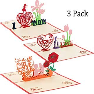 3D Mother's Day Card 3D Pop up Greeting Card for Mom Mother's Birthday and Mother Greeting Card I Love Mom Card with Envelope (Style 2, 3 Pieces)