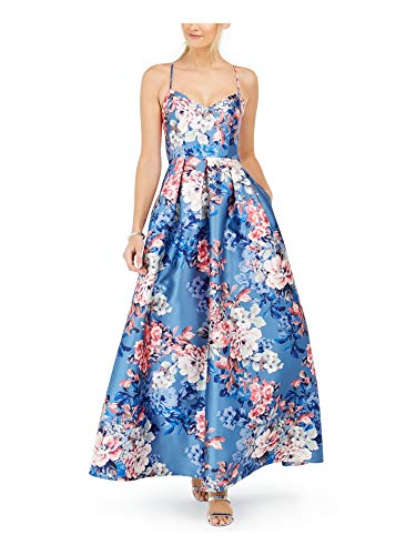 Eliza J Womens Blue Zippered Floral Spaghetti Strap Sweetheart Neckline Full-Length Fit + Flare Formal Dress UK Size:14