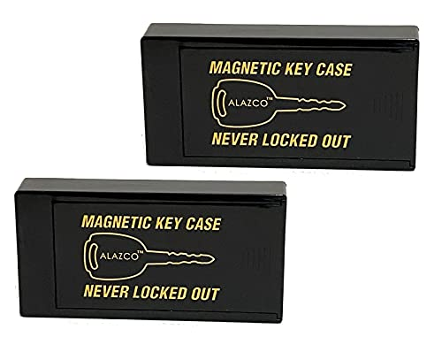 2 Large ALAZCO Magnetic Hide-A-Key Holder for Over-Sized Keys, Car House Shed Boat Spare Keys - Extra-Strong Magnet AZ2MH