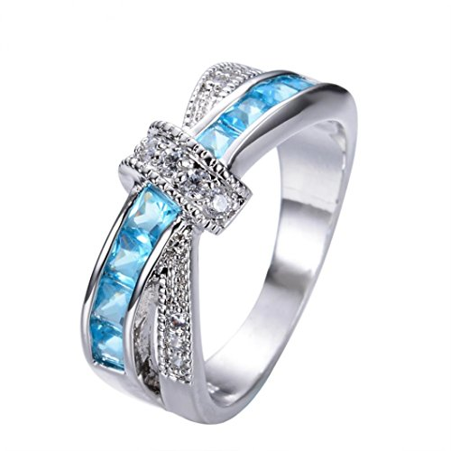 Challyhope Exotic Graceful Cute Turquoise Sapphire Crystal Studded Zircon Finger Ring for Women Girls Gifts (Sky Blue, Size 7)
