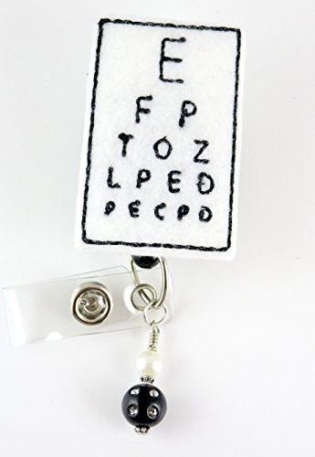 Eye Chart with Beads - Nurse Badge Reel - Retractable ID Badge Holder - Nurse Badge - Badge Clip - Badge Reels - Pediatric - RN - Name Badge Holder