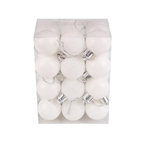 24pcs Natale Palla Opaco Glitter Albero Decorazioni Matrimonio Partito Casa Ornamento Natalizie Balls Pendente (Bianco, 8.8*6*11.8cm)