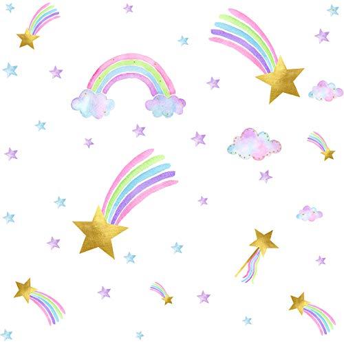 Easma Shooting Star Wall Decals Rainbow Wall Decal Nursery Girls Bedroom Decor Star Rainbow Wall Stickers Star Wall Decals Cloud Wall Decals
