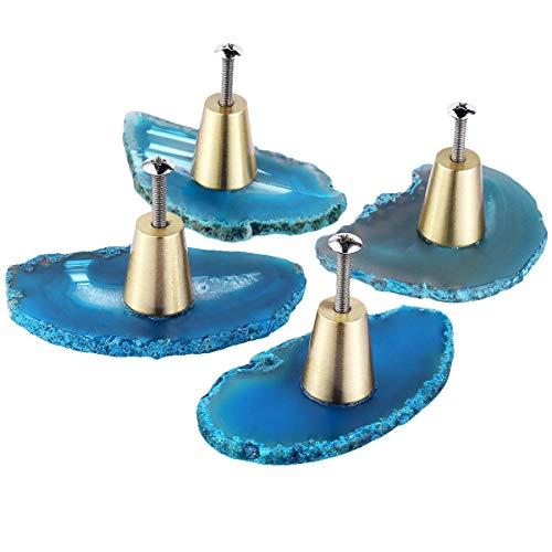 rockcloud Pack of 4 Agate Slice Cabinet Drawer Knobs Cupboard Dresser Door Pull Home Decorative Furniture Hardware, Blue
