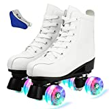 New Double Skates Men's and Women's Double Skates Artificial PU Leather Roller Skates Adult Skates Pink 6 whiteflash