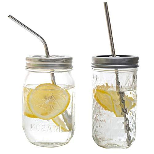 CJSWT Mason Jar Tapas, 2 Paquetes Reutilizables Mason Tapas de los frascos con Paja Agujero, además de 2 PCS Acero Inoxidable de la Paja con la Boca Regular Mason Jar Jar Canning para Beber
