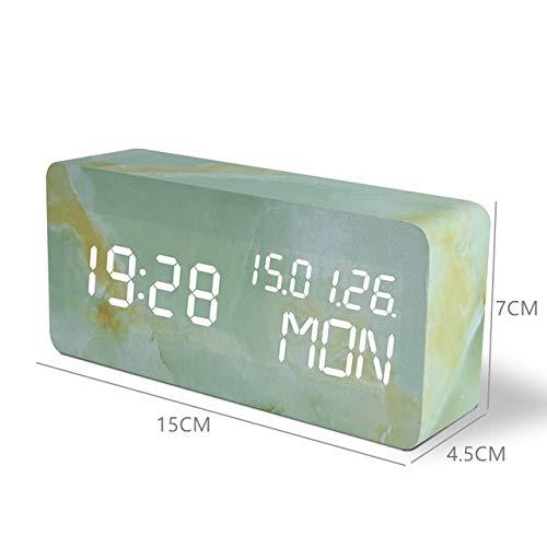 ADSIKOOJF snooze multifunctionele LED-wekker marmer digitale klok akoestische besturing tijdmeting nachtkastje tafelklok